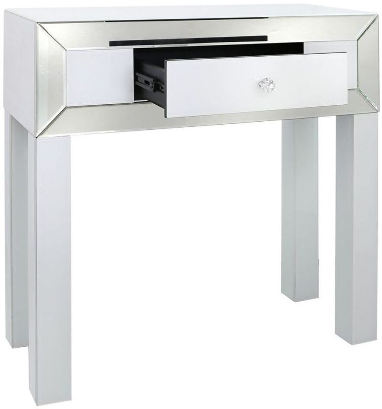 Leo White and Clear Mirrored Console Table