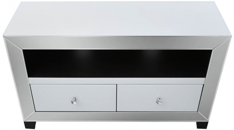 Leo White and Clear Mirrored Entertainment Unit