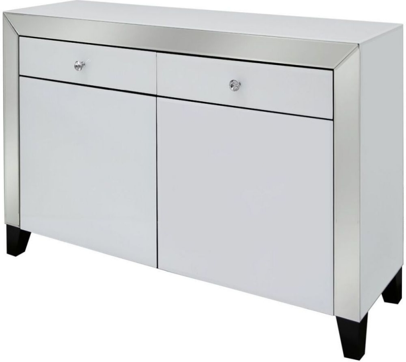 Leo White and Clear Mirrored Sideboard