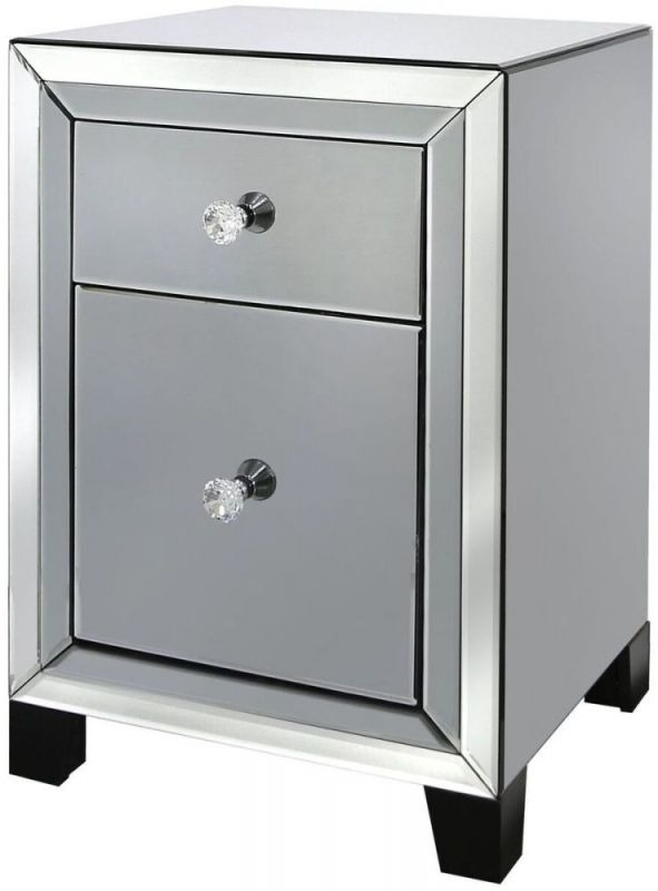 Leo Smoked and Clear Mirrored Bedside Cabinet