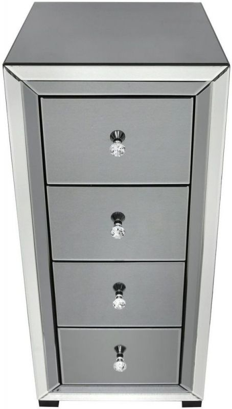 Leo Smoked and Clear Mirrored 4 Drawer Chest