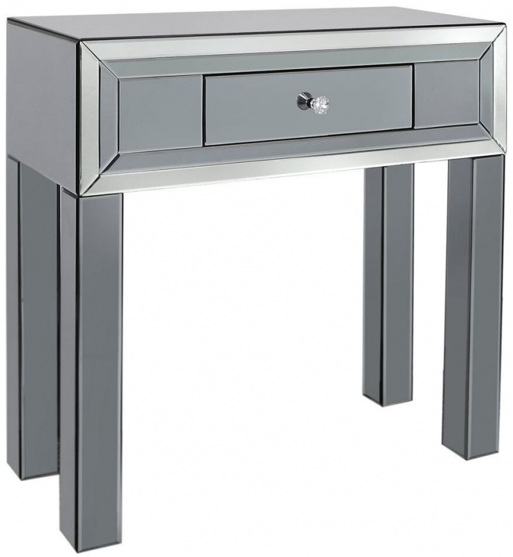 Leo Smoked and Clear Mirrored Console Table