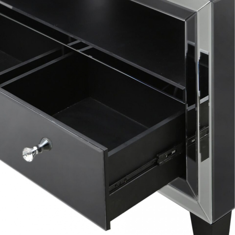 Leo Smoked and Clear Mirrored Entertainment Unit