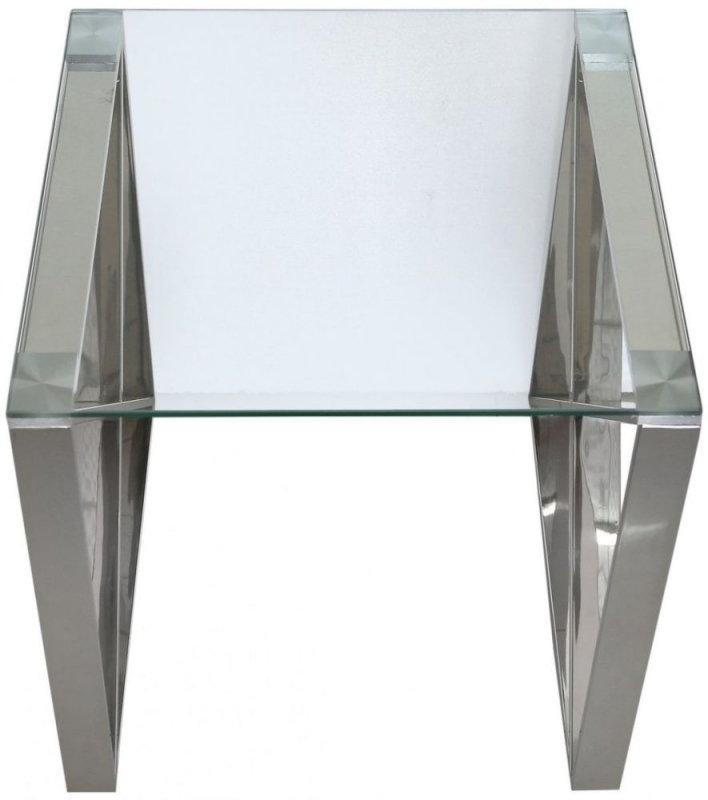 Shay Stainless Steel with Clear Glass Top End Table
