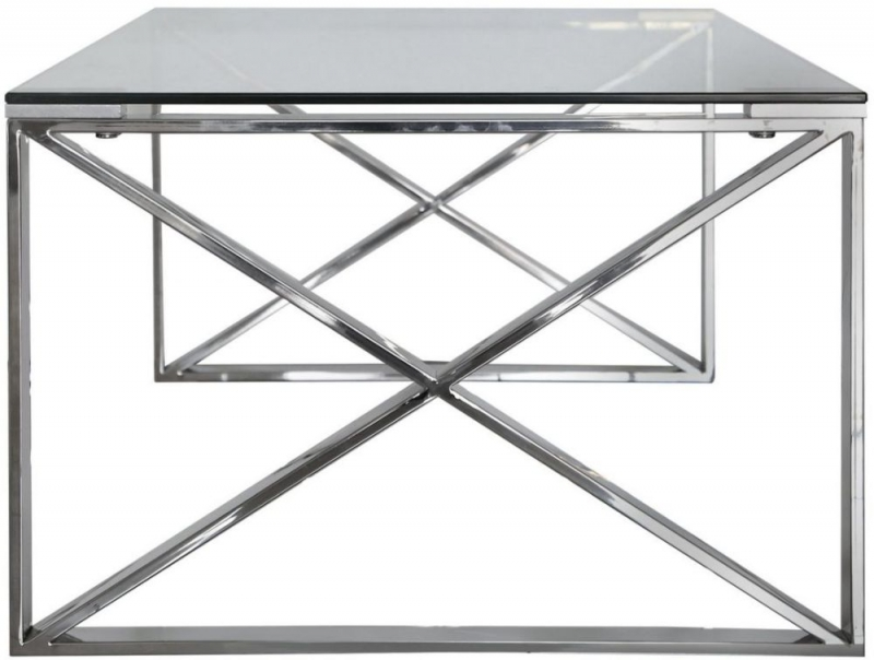 Shay Stainless Steel with Clear Glass Top Coffee Table