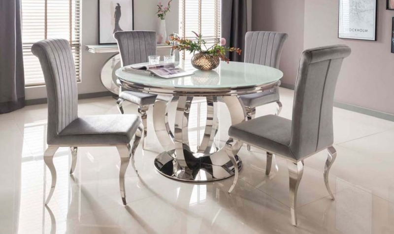 Nashville White Glass Top 130cm Round Dining Table