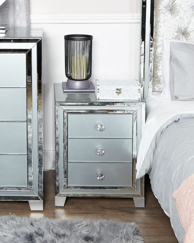 Boston Grey Mirrored Bedside Cabinet