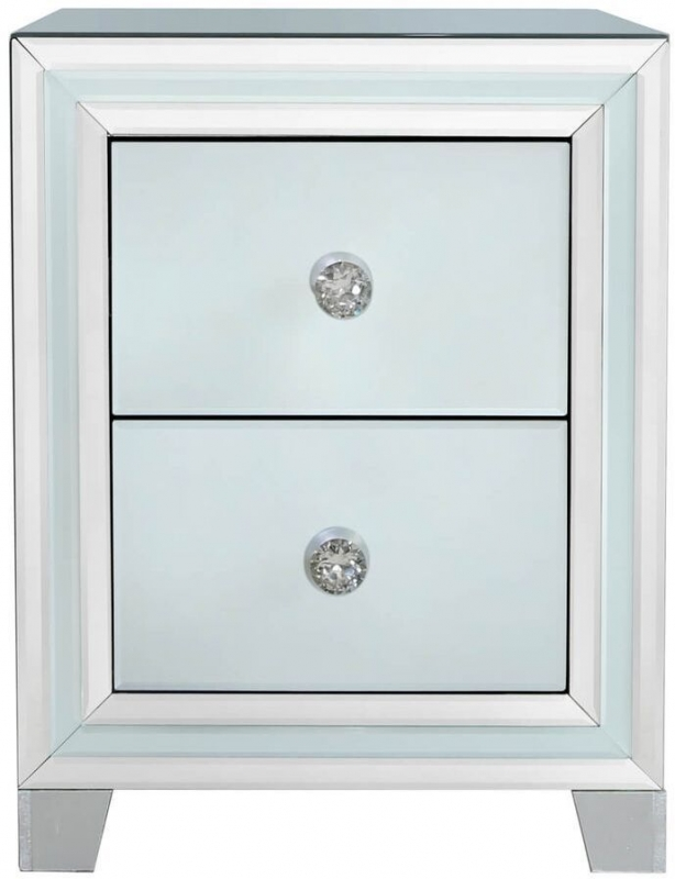 Boston Grey Mirrored 2 Drawer Bedside Cabinet
