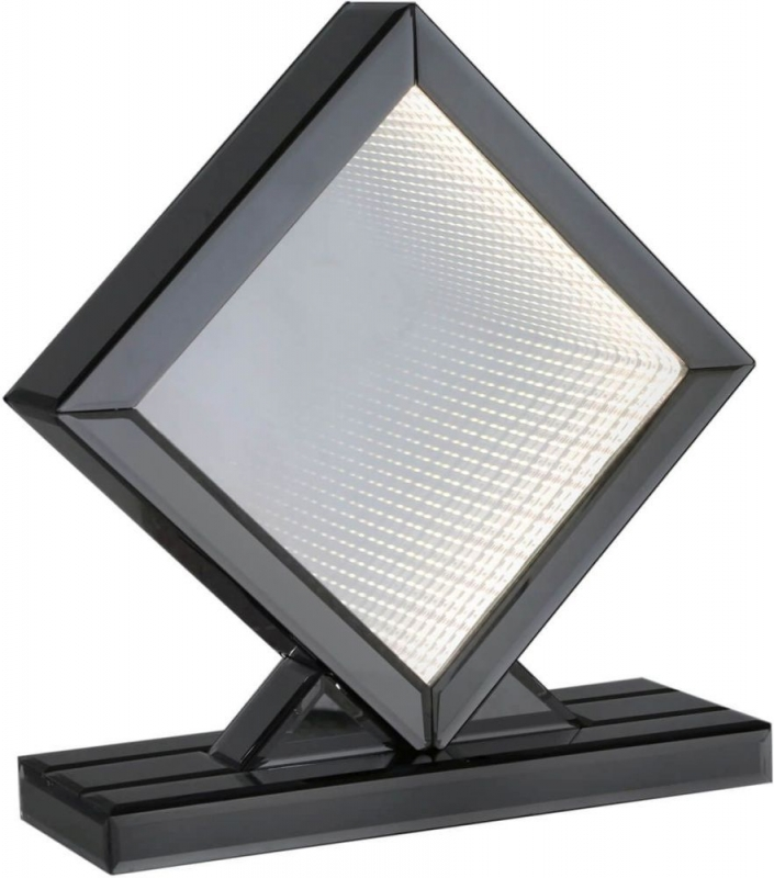 Avalon Smoked Mirrored White LED Diamond Medium Table Lamp