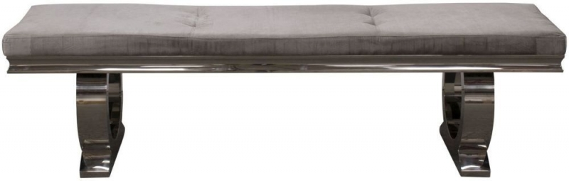 Tucson Velvet with Silver Metal Dining Bench
