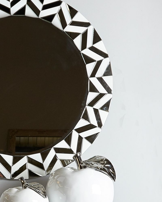 Boston White Tiled Round Wall Mirror