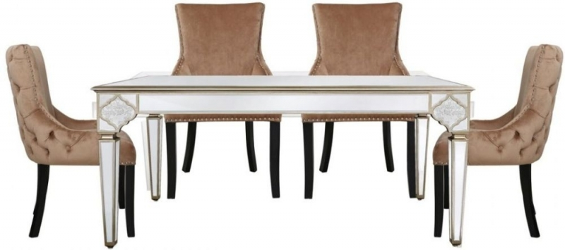 Durham Mirrored 180cm Rectangular Dining Set with 6 Champagne Padded Faux Velvet Chairs