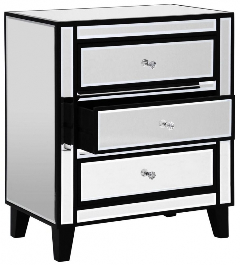 Diego Champagne Mirrored 3 Drawer Chest