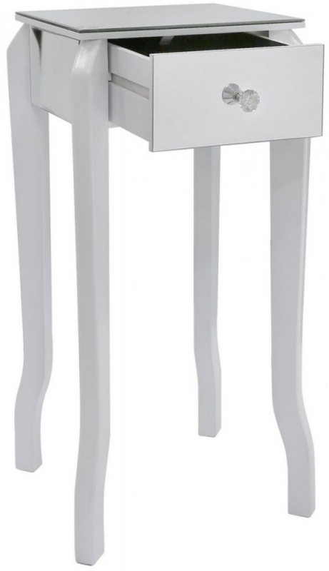 Bayside White Mirrored Lamp Table