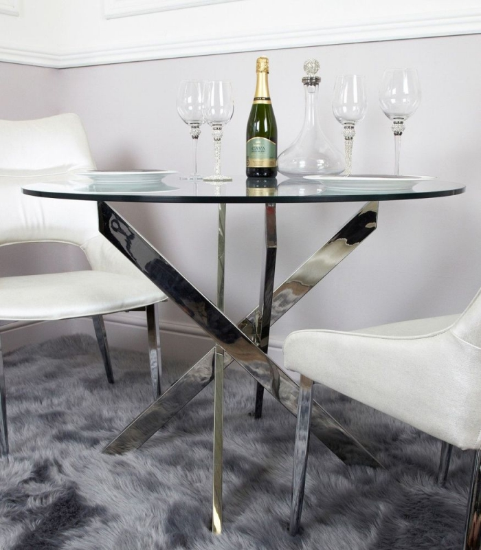Ville Glass 100cm Round Dining Table