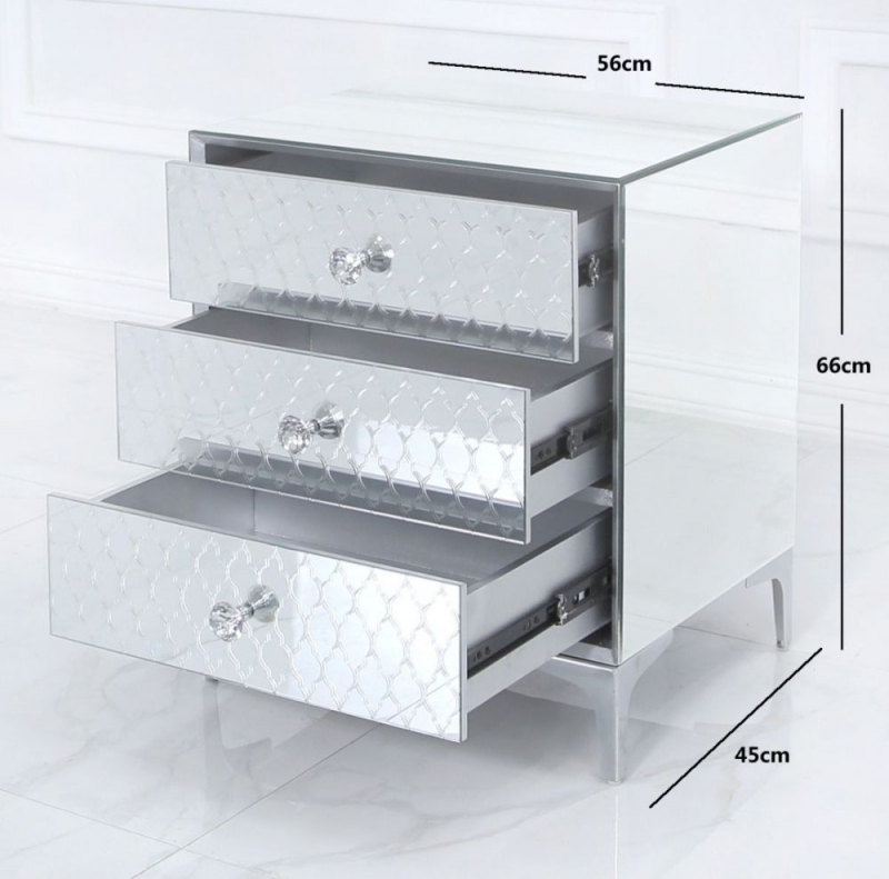 Prentice Mirrored 3 Drawer Bedside Cabinet
