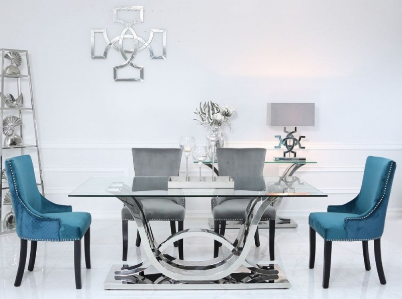 Abey Glass and Chrome 130cm Rectangular Dining Table