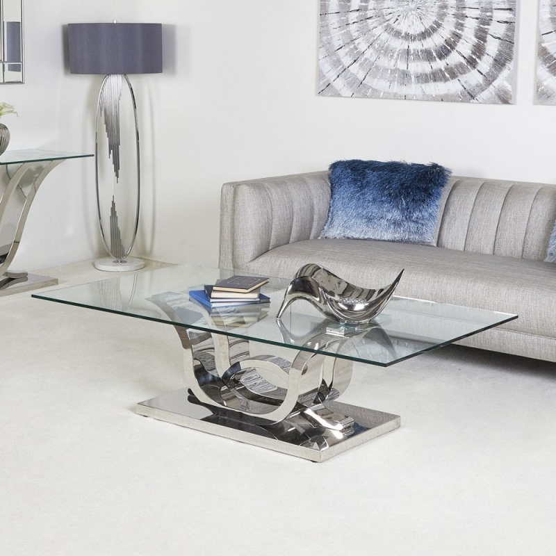 Abey Glass and Chrome Coffee Table