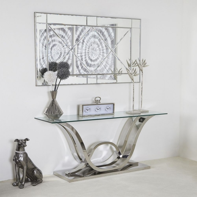 Abey Glass and Chrome Console Table