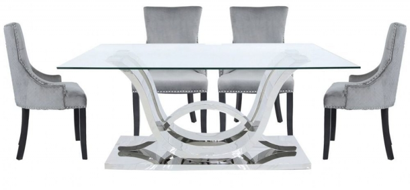 Abey Glass and Chrome 130cm Rectangular Dining Set with 6 Chairs
