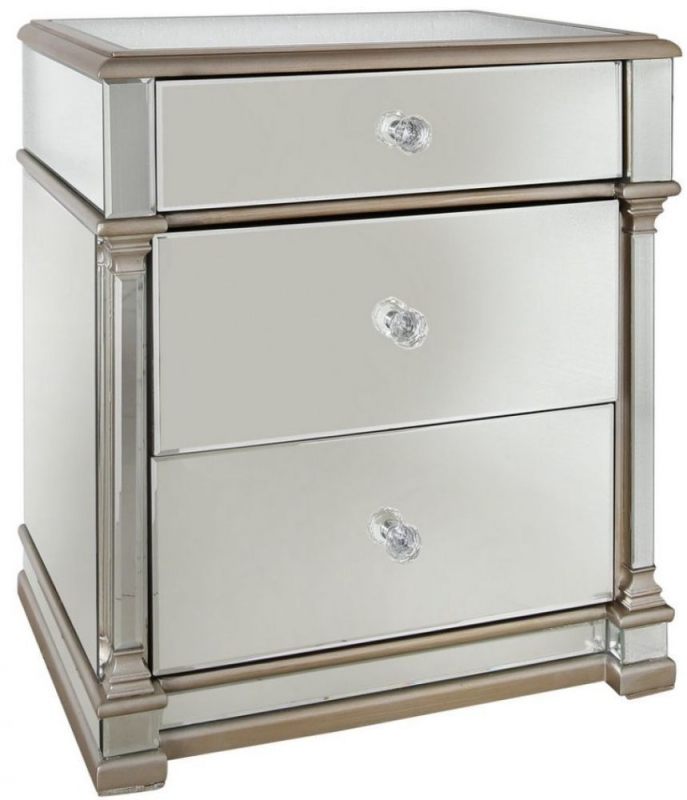 Grayton Champagne Mirrored Bedside Cabinet