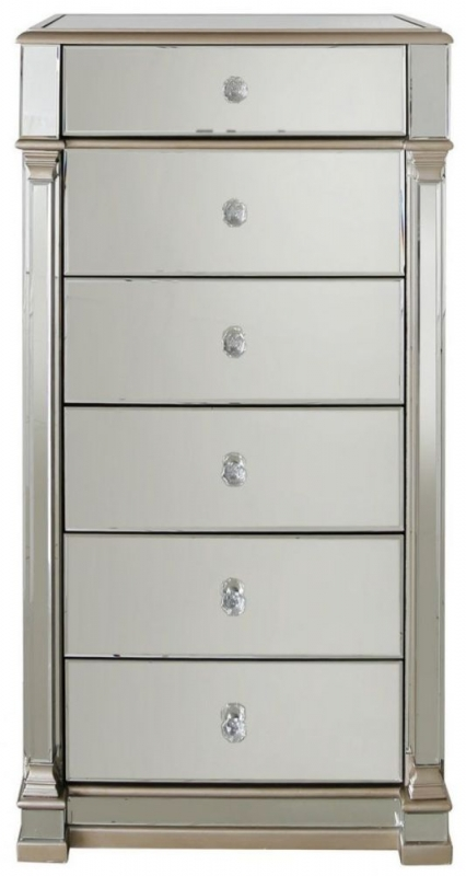 Grayton Champagne Mirrored 6 Drawer Tall Chest
