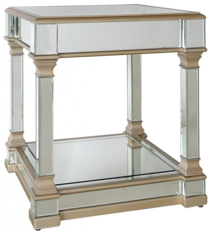 Grayton Champagne Mirrored Lamp Table