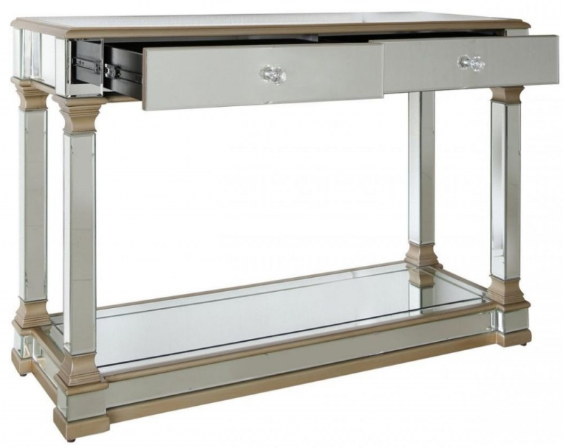 Grayton Champagne Mirrored Console Table