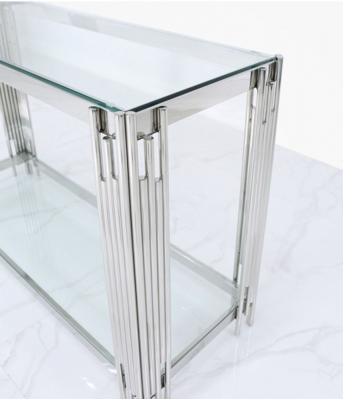Gloria Chrome and Glass Console Table