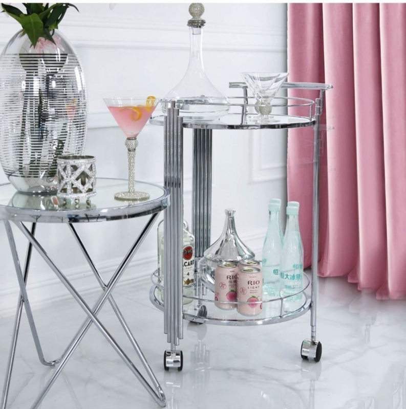Gloria Clear Chrome and Glass Drinks Trolley