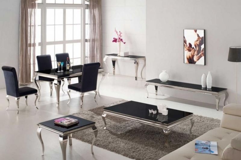 Boise Black Glass Top Console Table
