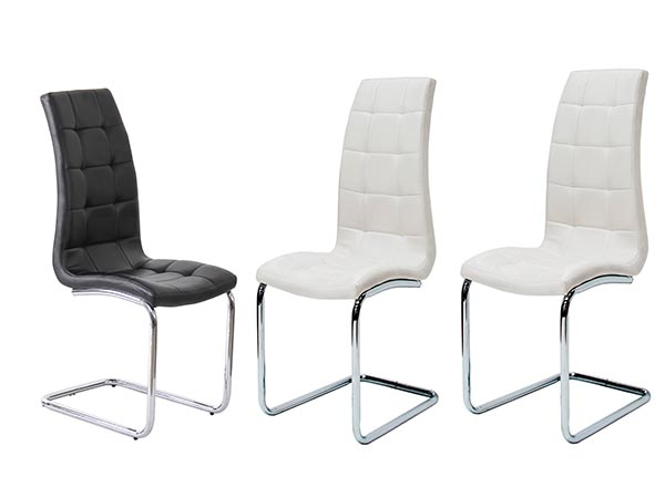Amelia White Faux Leather Dining Chair (Pair)