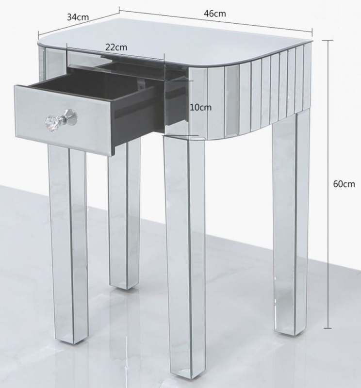 Charlotte Mirrored Small Lamp Table