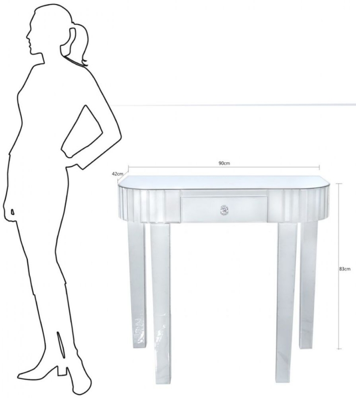 Charlotte Mirrored Tile Console Table