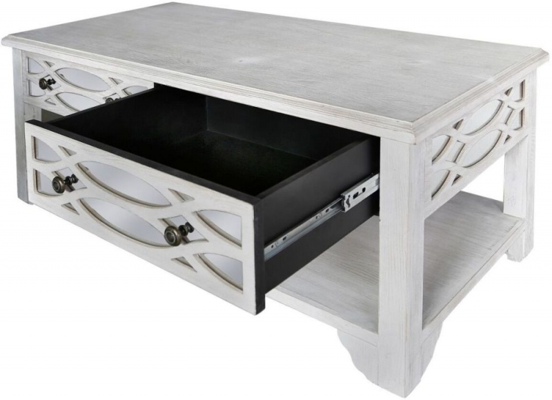 Detroit Washed Ash and Mirrored Coffee Table