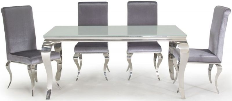 Boise White Glass Top 160cm Rectangular Dining Table