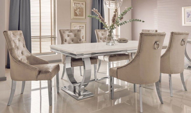 Tucson Cream Marble 200cm Rectangular Dining Table