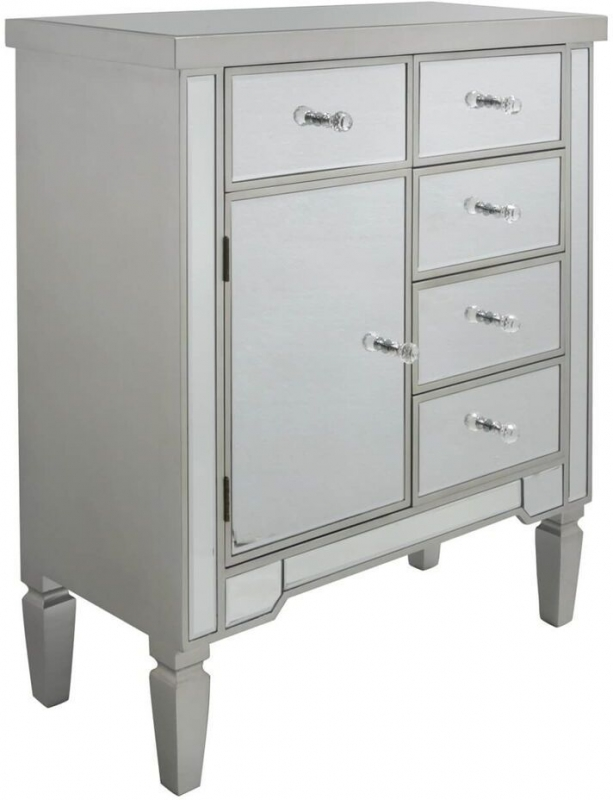 Shore Mirrored Champagne Wood Cabinet