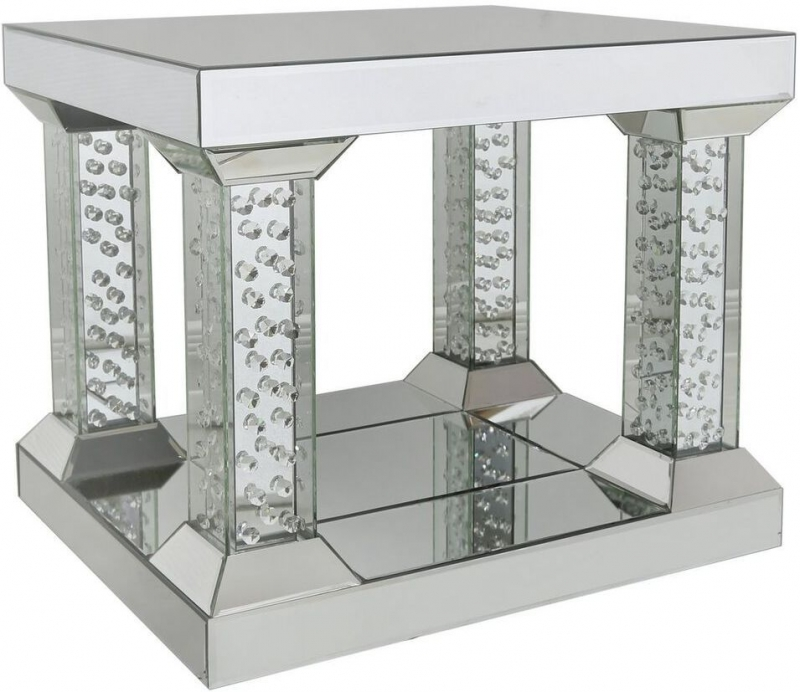 Arielle Mirrored End Table with 4 Pillar