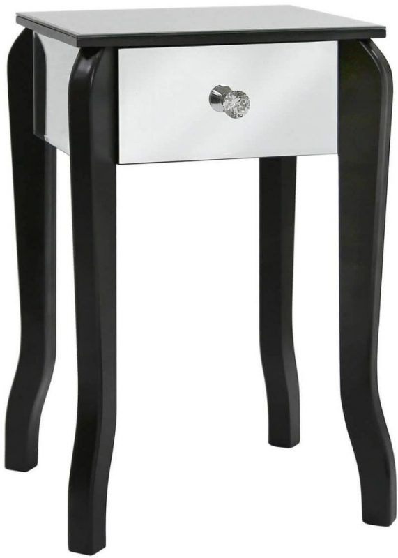 Bayside Black Mirrored Small Lamp Table